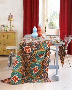 Ikat-Tischdecke Myra aus Baumwolle
