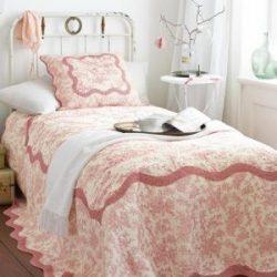 Quilt, Steppdecke, Toile de Jouy, Baumwolle, rot-weiß