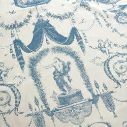 Vorhang, Gardine, Muster, Dessin, Toile de Jouy, blau-weiß