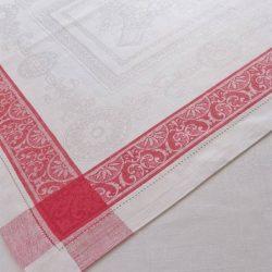 Tischdecke Romanow Leinen Weiß-Rot